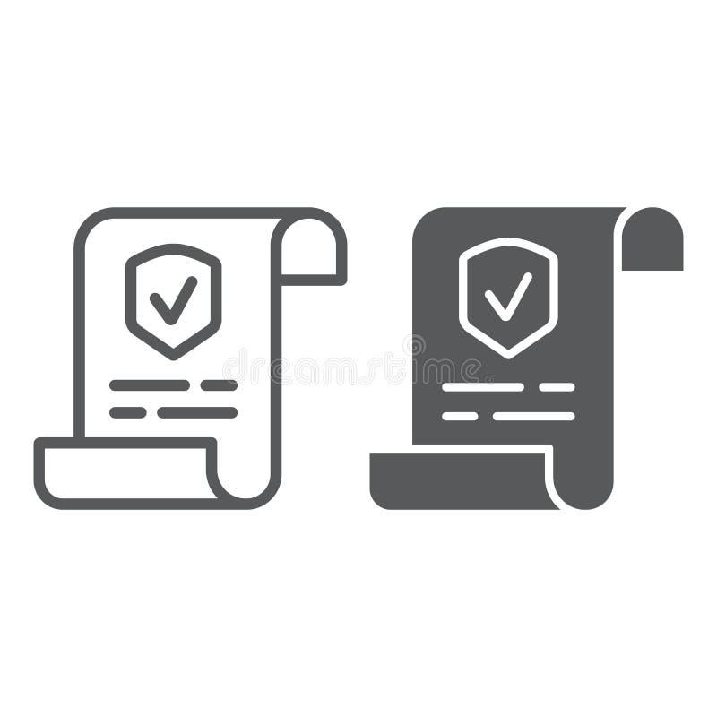 政策线和纵的沟纹象、文件和合同,保险纸标志,向量图形,在白色的一个线性样式 库存例证