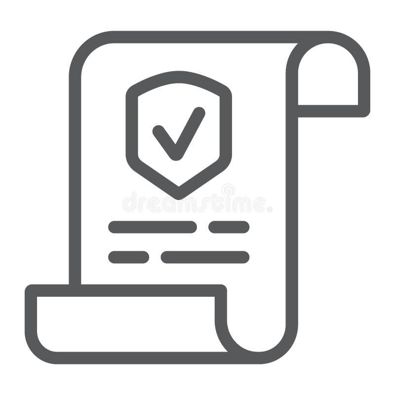 政策线象,文件和合同,保险纸标志,向量图形,在白色背景的一个线性样式 向量例证