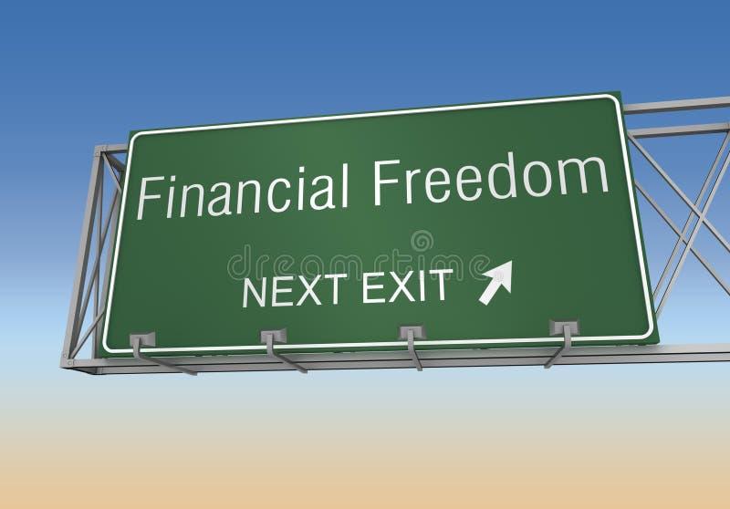 财政自由路标3d例证 皇族释放例证