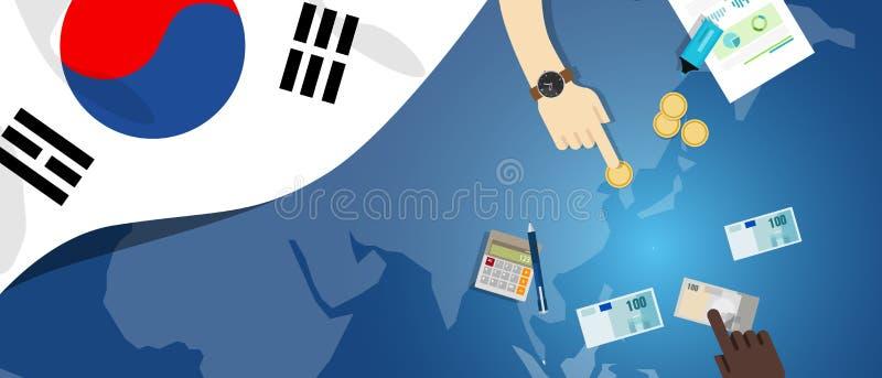 财政银行业务预算的韩国财政金钱贸易概念例证与旗子地图和货币的 皇族释放例证