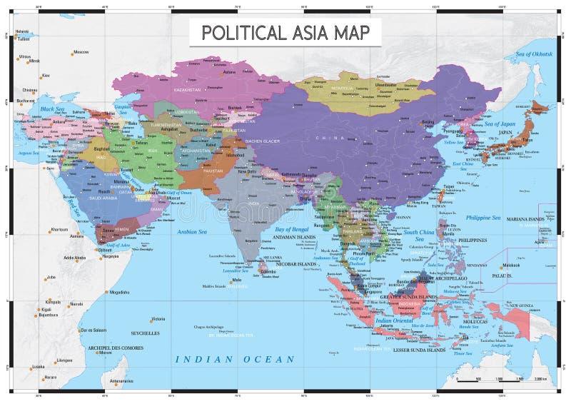 政治亚洲地图 库存例证