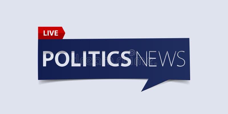 政治在白色背景的新闻倒栽跳水 最新新闻横幅设计模板 向量 库存例证