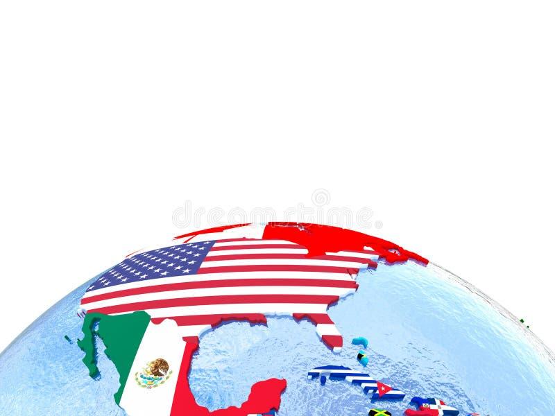 政治地球的北美与旗子 库存例证