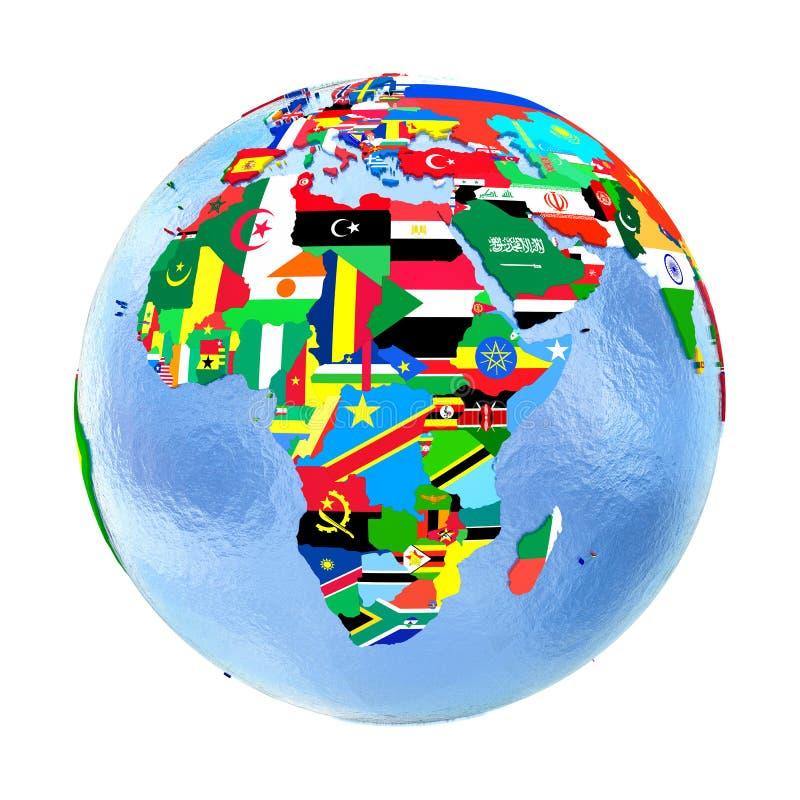政治地球的非洲与在白色隔绝的旗子 库存例证
