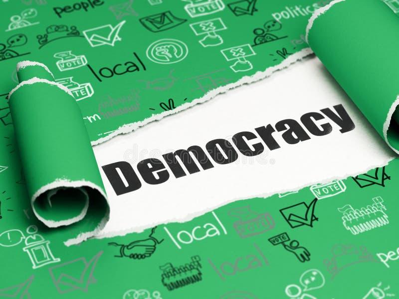 政治概念:在被撕毁的纸下张的黑文本民主  向量例证