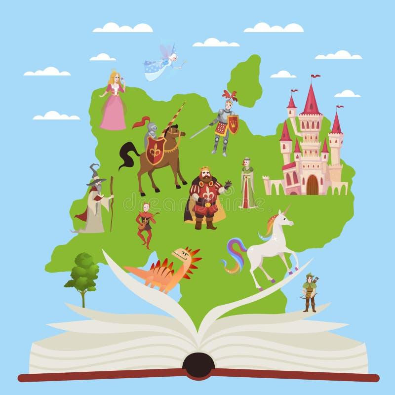 故事书 与故事童话和幻想字符的儿童教育书想象力读书传染媒介的 库存例证