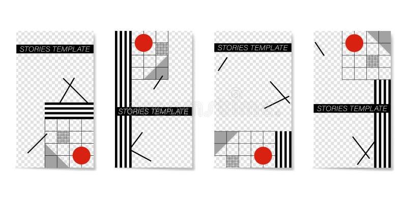 故事和小河的编辑可能的模板 平的几何样式 库存例证
