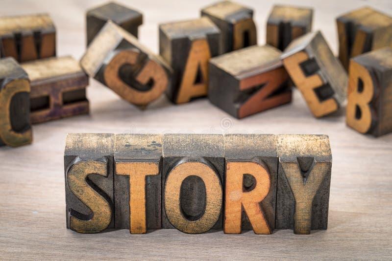 故事在木类型的词摘要 库存照片