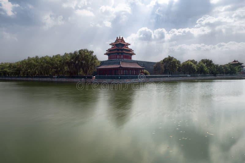 故宫的壁角城楼在北京紫禁城,北京,中国 库存图片