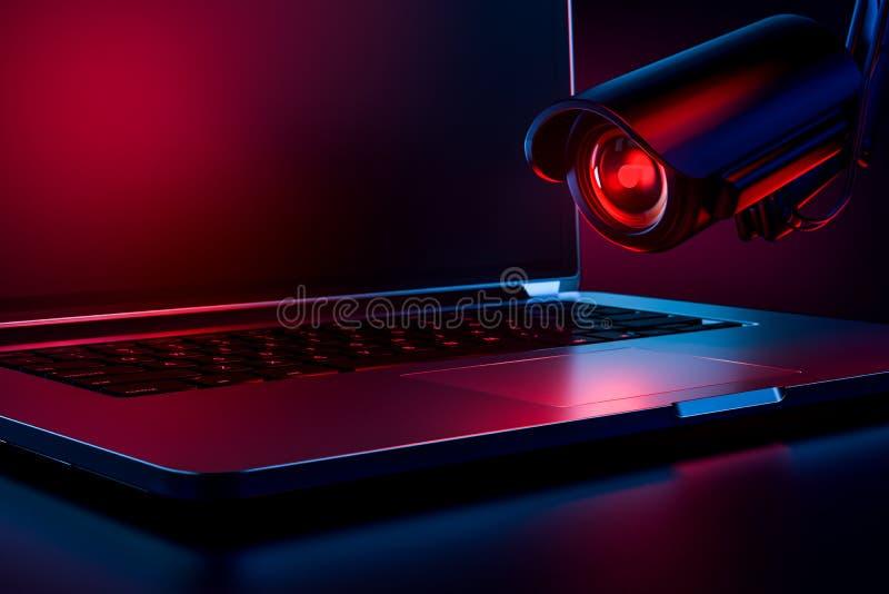 敌对看的照相机观察的计算机作为偷偷靠近或恶意软件隐喻观察和跟踪用户 复制 皇族释放例证