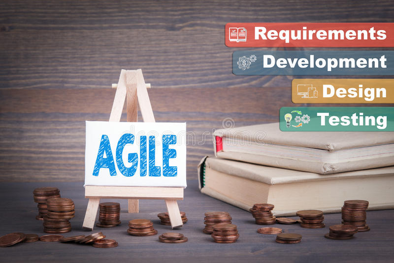 敏捷软件开发,企业概念 有零钱的微型画架 免版税库存图片