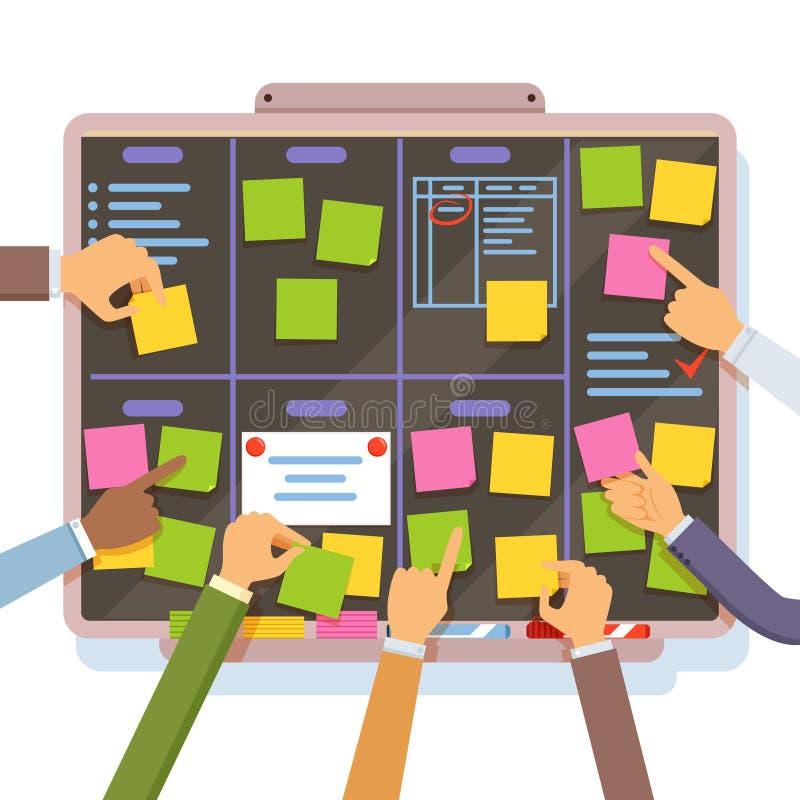 敏捷项目计划 举行的手和关于计划委员会的被投入的笔记 库存例证