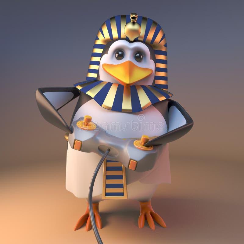 敏锐的游戏玩家企鹅法老王打与控制杆控制器,3d的Tutankhumun一个电子游戏例证 向量例证