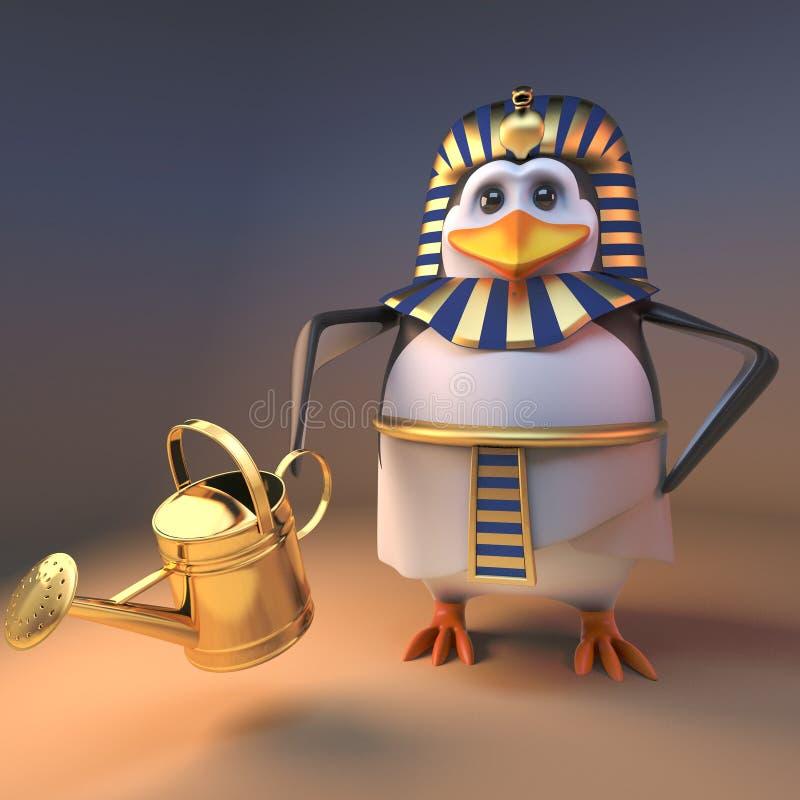 敏锐的花匠企鹅法老王浇灌沙漠,3d的Tutankhamun例证 皇族释放例证