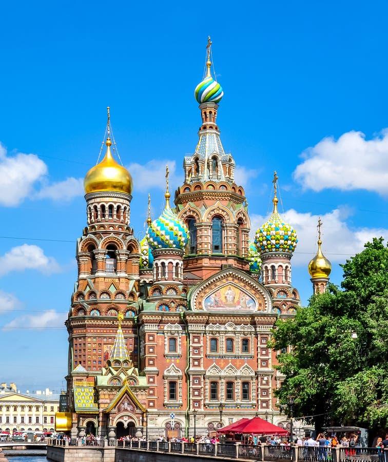 救主的教会溢出的血液的,圣彼德堡,俄罗斯 图库摄影