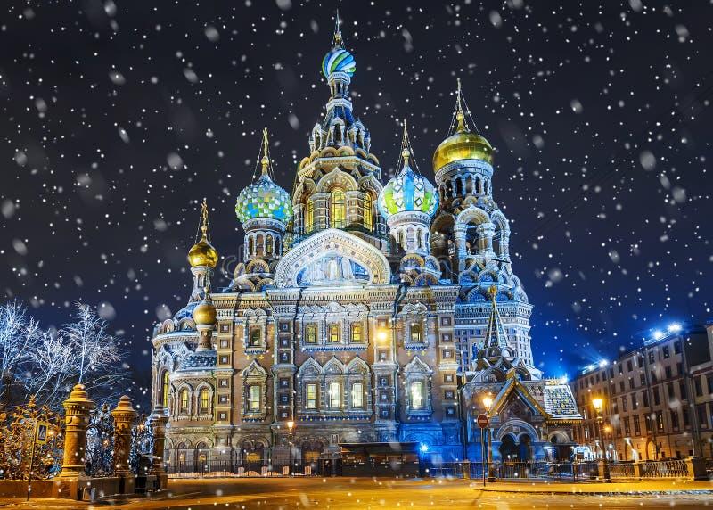 救主的教会血液的在圣彼得堡,俄罗斯 图库摄影
