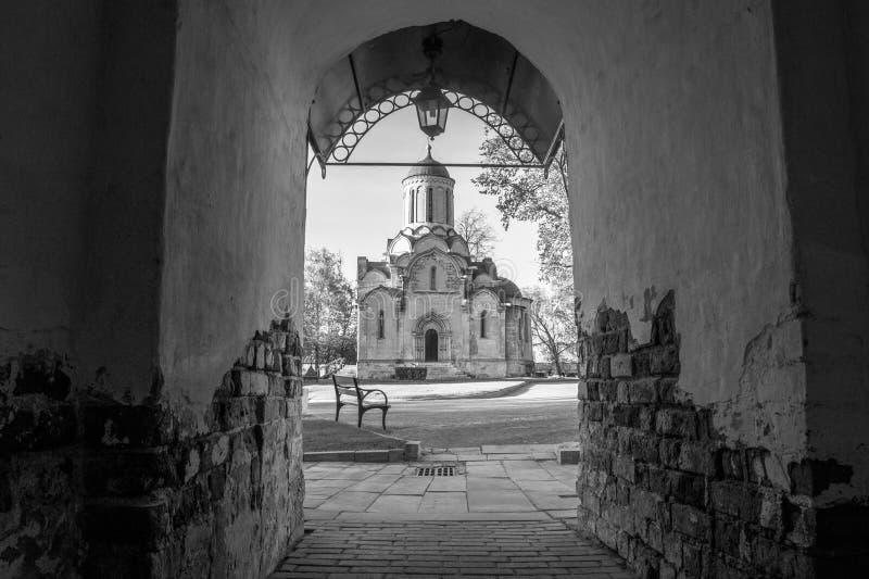 救主的Vernicle图象的一个古老斯帕斯基大教堂在Andronikov修道院里,从大门的看法,莫斯科 图库摄影