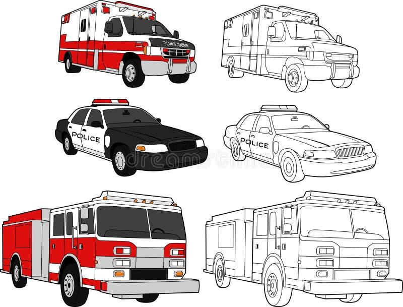 救护车发动机火警察 库存例证