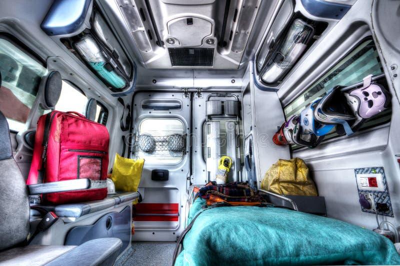 救护车抢救HDR的内部 免版税图库摄影