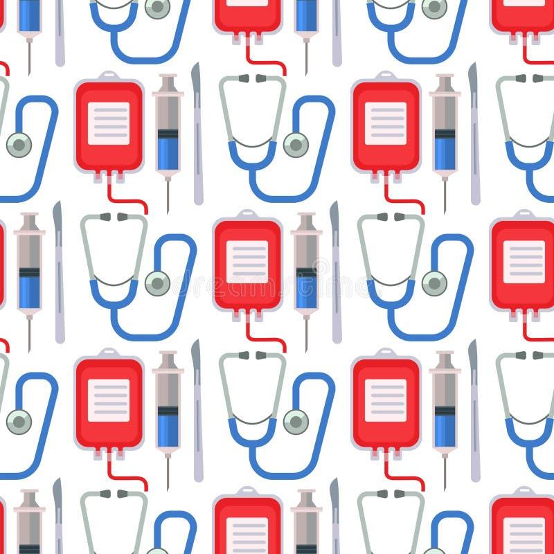 救护车无缝的样式背景传染媒介医学健康紧急医院标志例证 库存例证