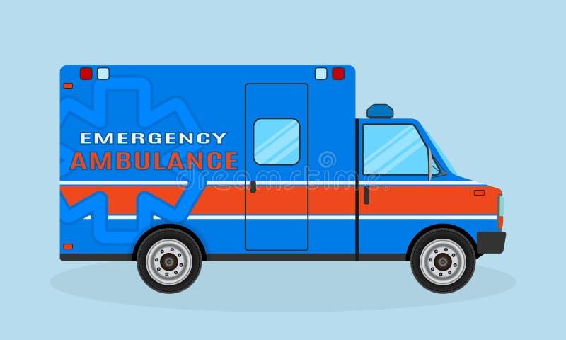 救护车汽车侧视图 在蓝色和橙色颜色的紧急医疗服务车 伤员运输船 库存例证