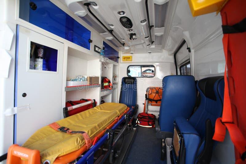 救护车汽车和从里边后面空间 免版税库存图片
