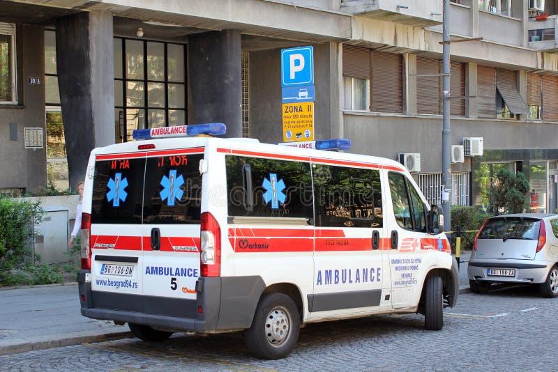救护车汽车在贝尔格莱德,塞尔维亚 图库摄影