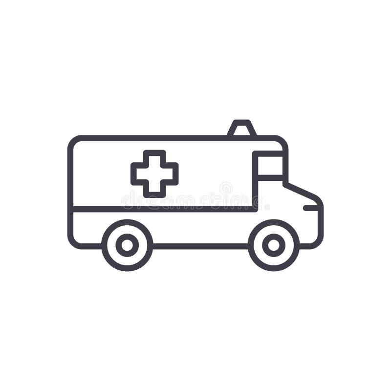 救护车汽车黑色象概念 救护车汽车平的传染媒介标志,标志,例证 皇族释放例证