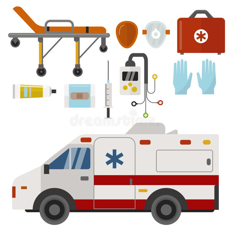 救护车象医学健康紧急医院迫切药房医疗支持医务人员治疗传染媒介 库存例证