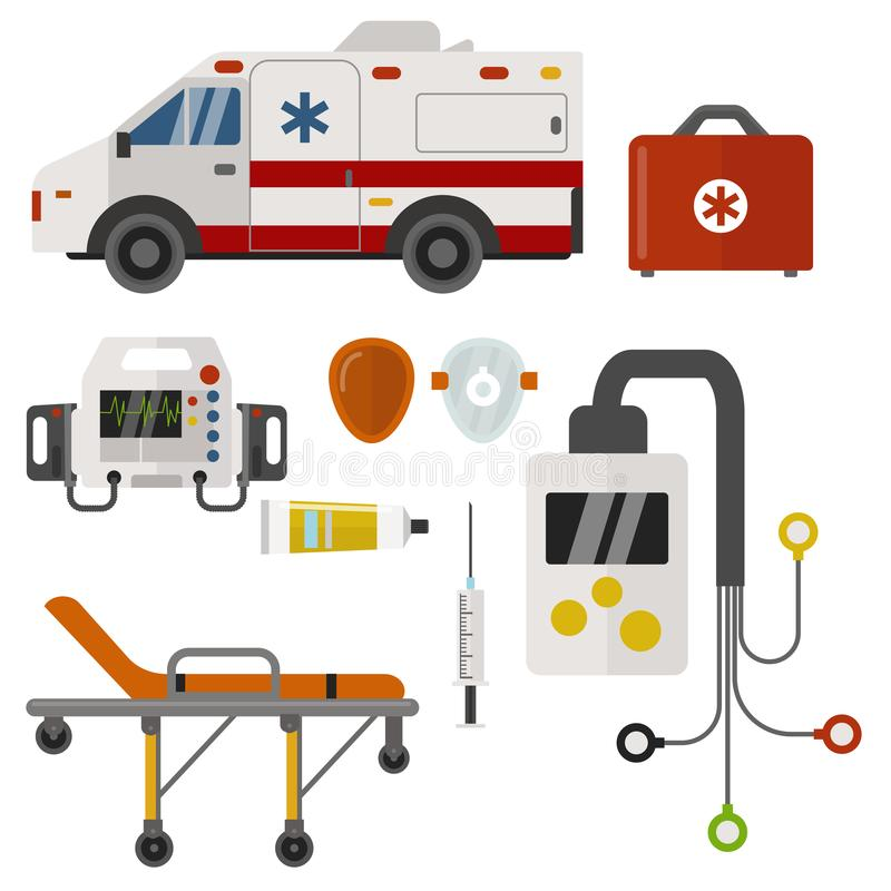 救护车象医学健康紧急医院迫切药房医疗支持医务人员治疗传染媒介 向量例证