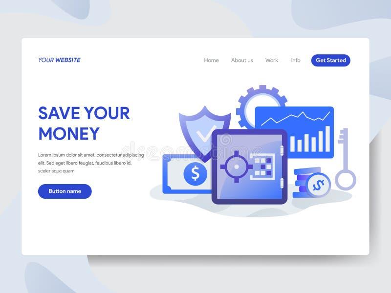 救球登陆的页模板您的金钱例证概念 网页设计的现代平的设计观念网站的和 皇族释放例证