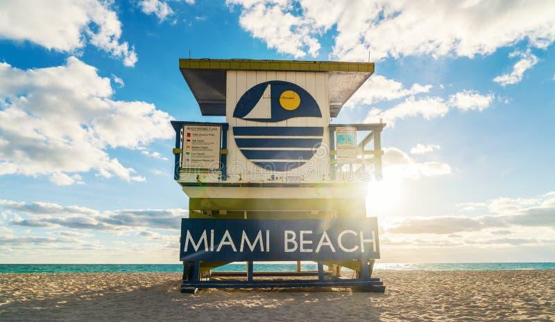 救生员小屋南海滩迈阿密 免版税图库摄影