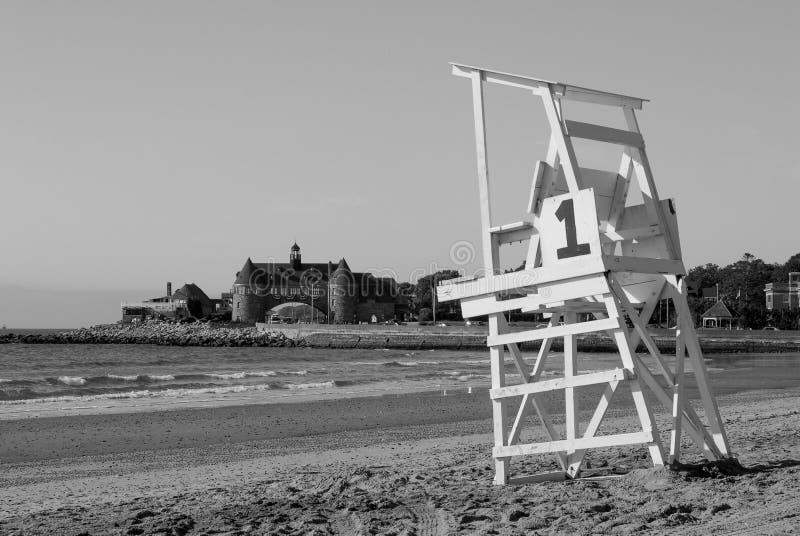 救生员椅子, Narragansett,罗德岛州 免版税库存图片