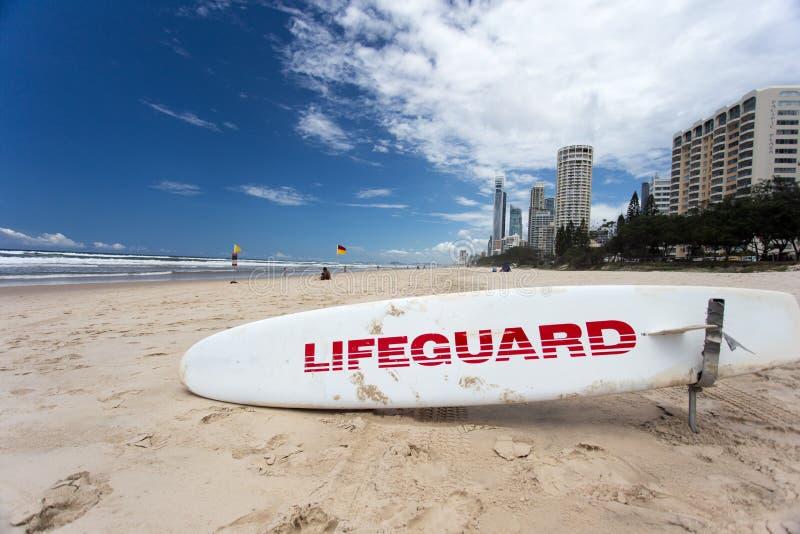 救生员水橇板戈尔德比尤特澳大利亚 库存图片
