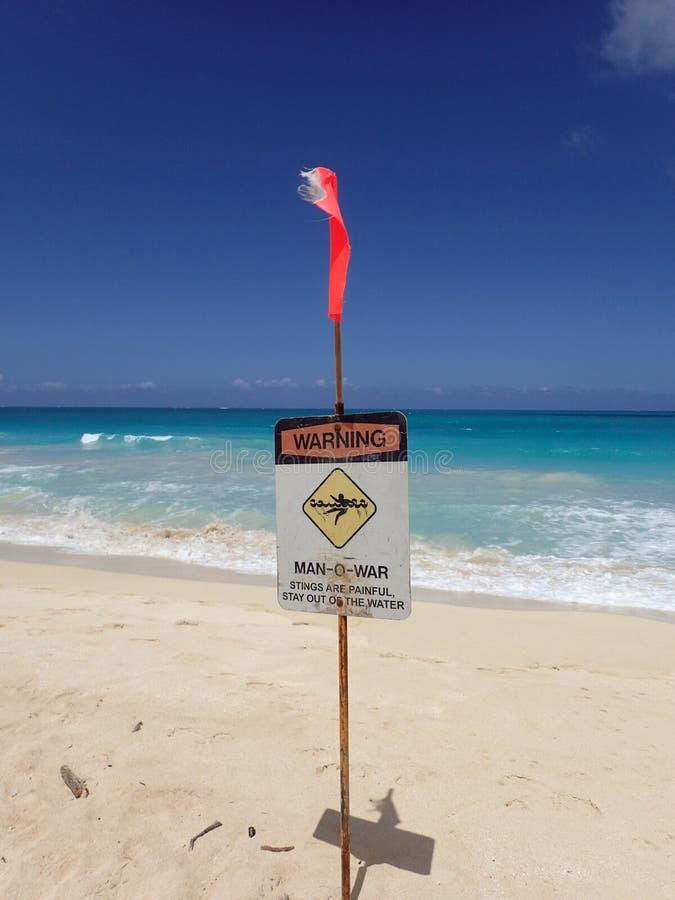 救生员沙子的警报信号地方海滩警告的  图库摄影