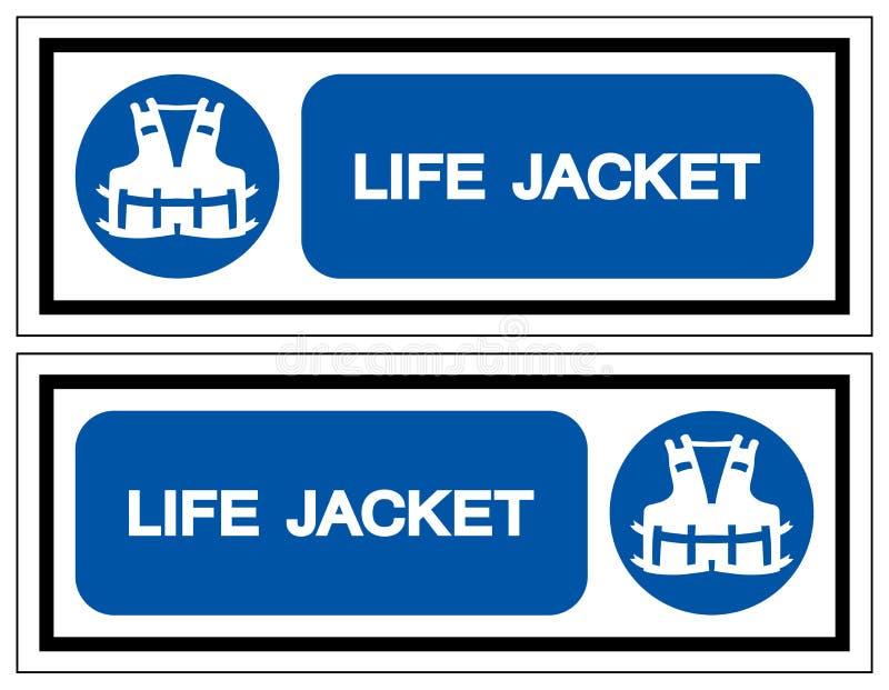 救生衣标志标志,传染媒介例证,在白色背景标签的孤立 EPS10 向量例证