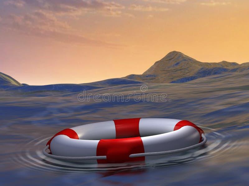 救生衣,帮助,无能为力,危险 向量例证