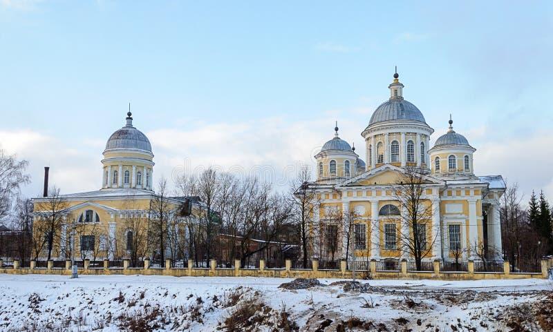 救主变貌大教堂在Torzhok,冬时 库存照片