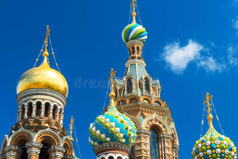 救主的教会溢出的血液的在圣彼得堡,俄罗斯 免版税图库摄影