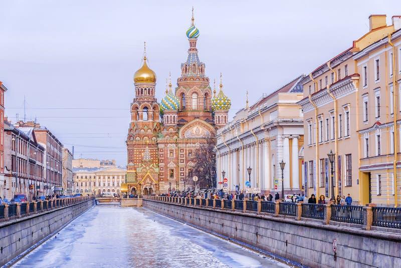 救主的教会溢出的血液的在圣彼得堡 免版税库存照片