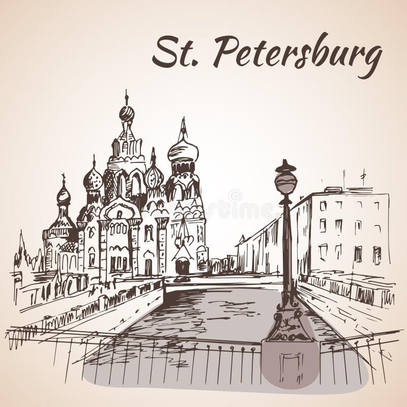 救主的Hurch在圣彼德堡,俄罗斯 库存例证