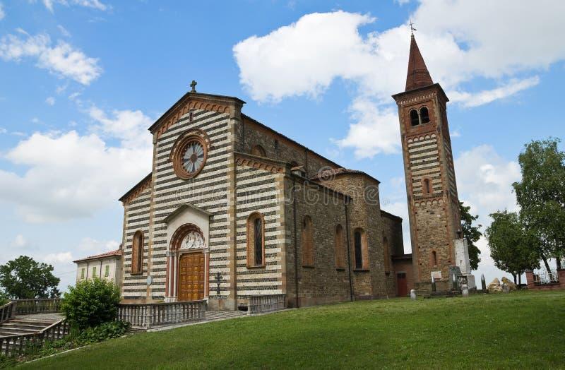 教会一点红gazzola意大利romagna savino st 免版税库存图片