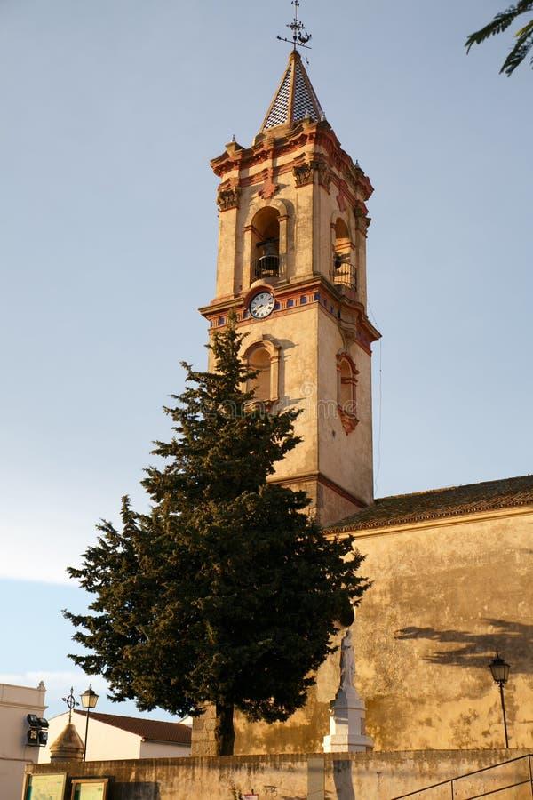 教会中世纪塔 免版税库存图片