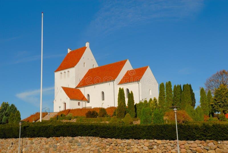 教会丹麦村庄 图库摄影