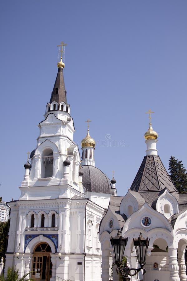 教会俄国索契三个塔 免版税库存图片