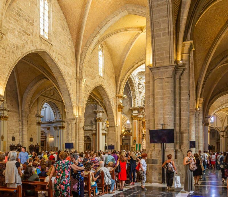 教会内部在巴伦西亚 免版税库存照片