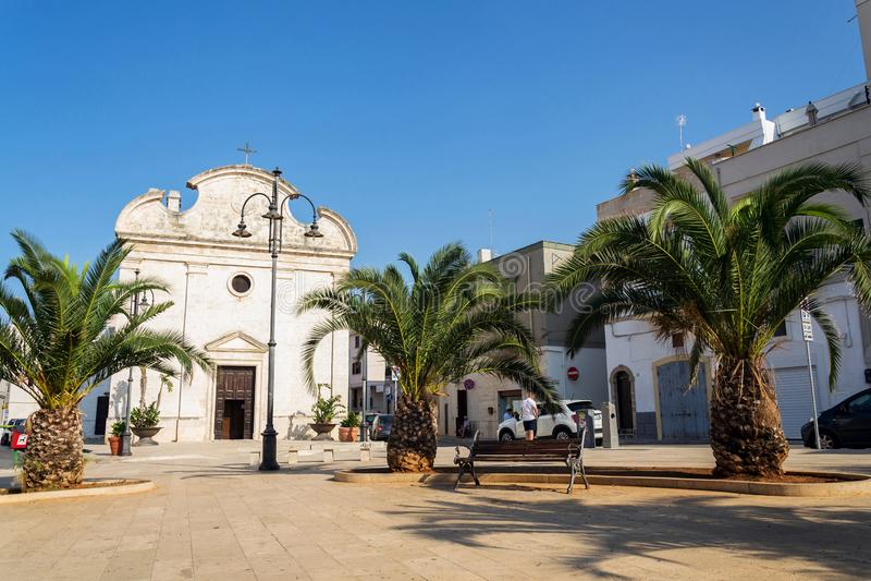 教会切萨della特里尼塔在波利尼亚诺阿马雷,意大利 库存图片
