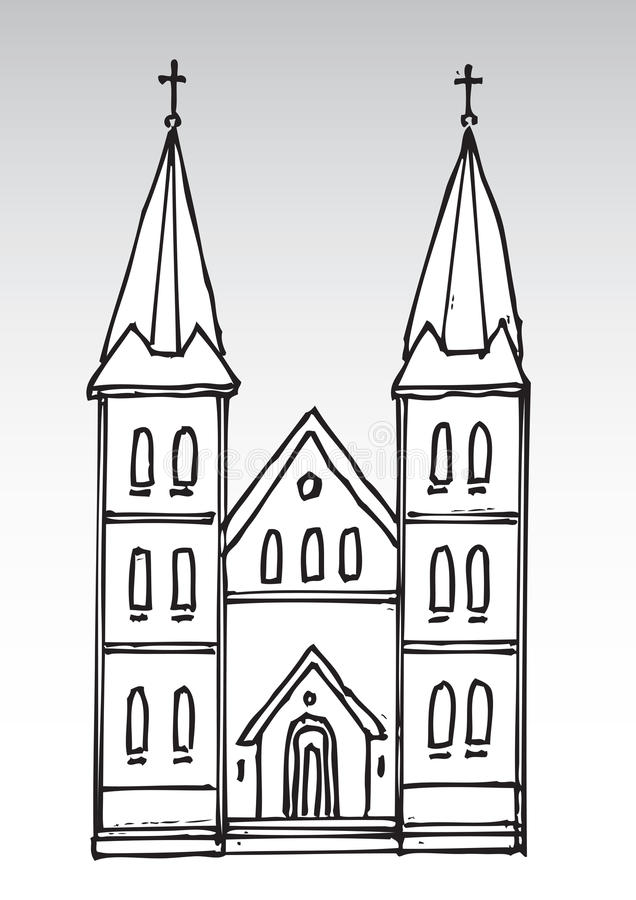 教会剪影 库存例证