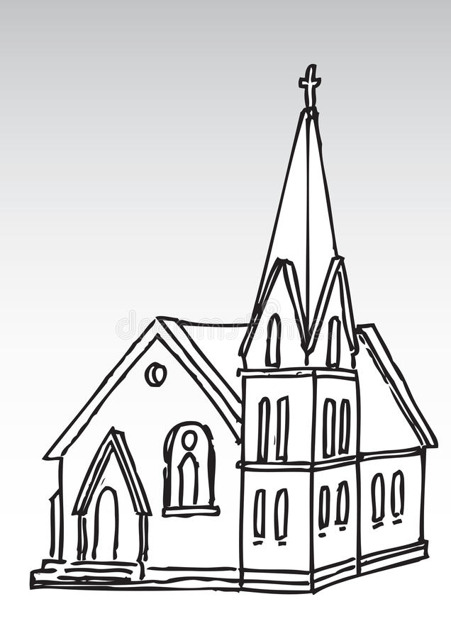 教会剪影 皇族释放例证