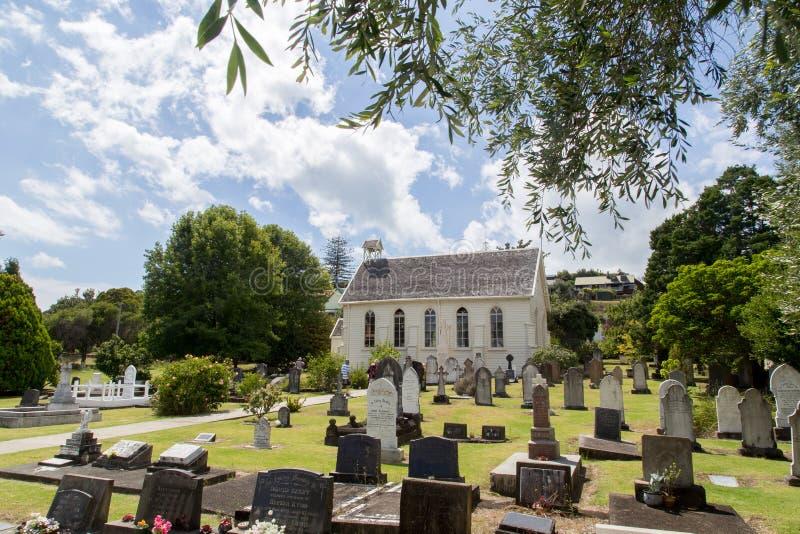教会和坟园在罗素,新西兰 免版税图库摄影